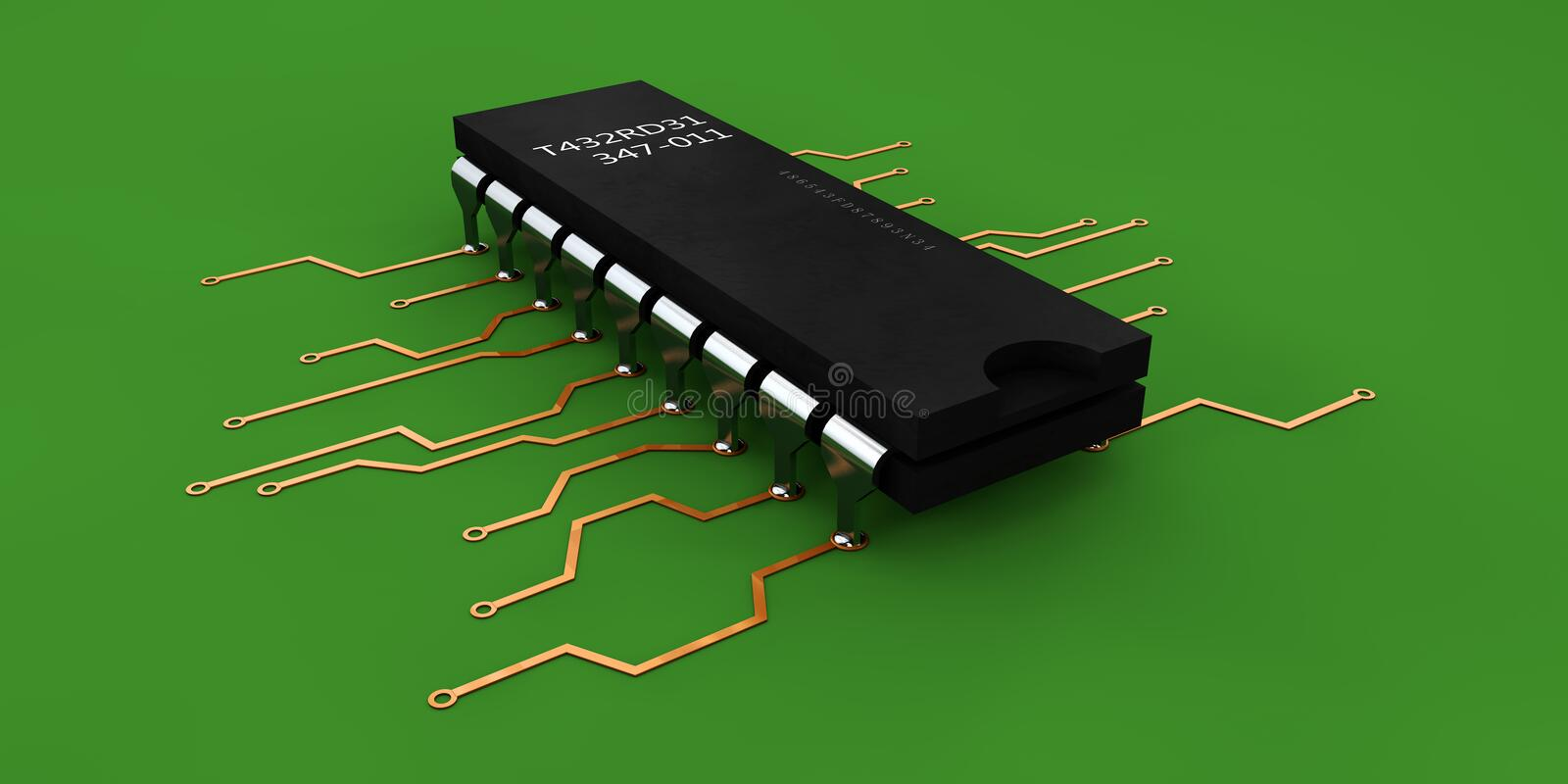 Illustration of computer microchip isolated green background. 3d Illustration of computer microchip isolated green background royalty free illustration