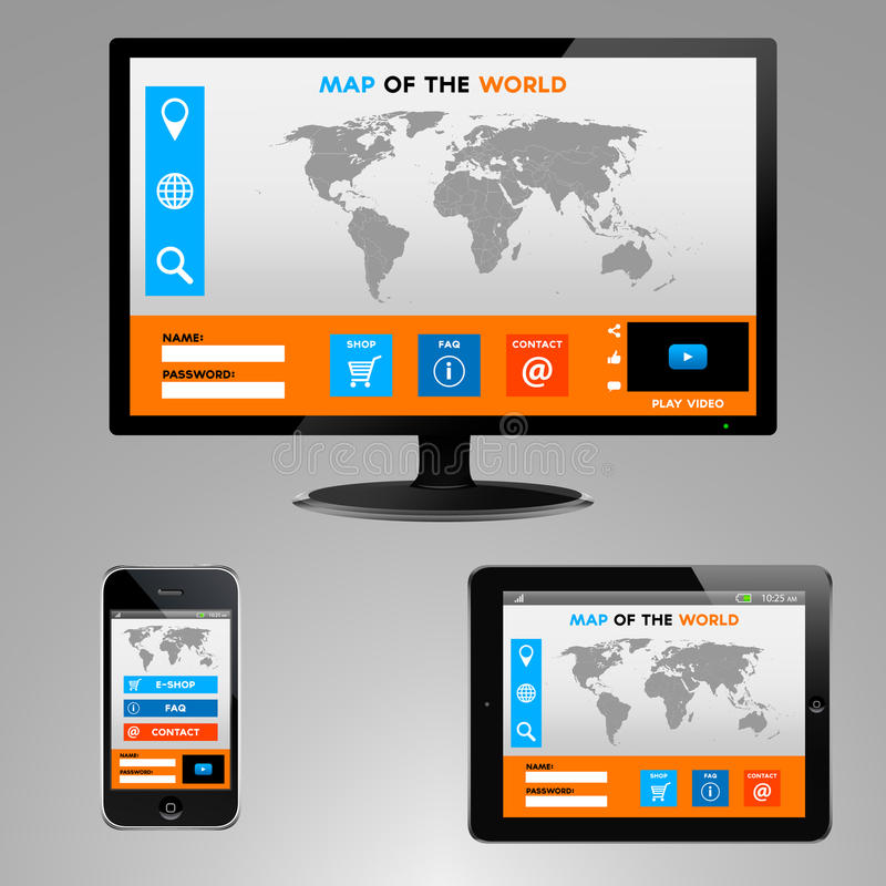 Illustration of computer monitor, smartphone and tablet with worlds map website stock illustration