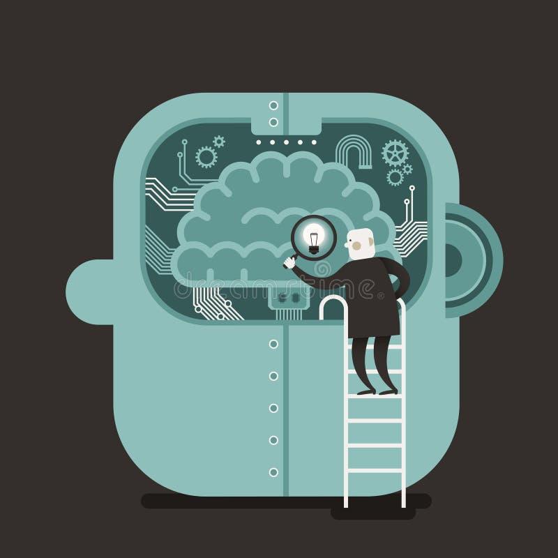 Illustration concept of brain searching vector illustration