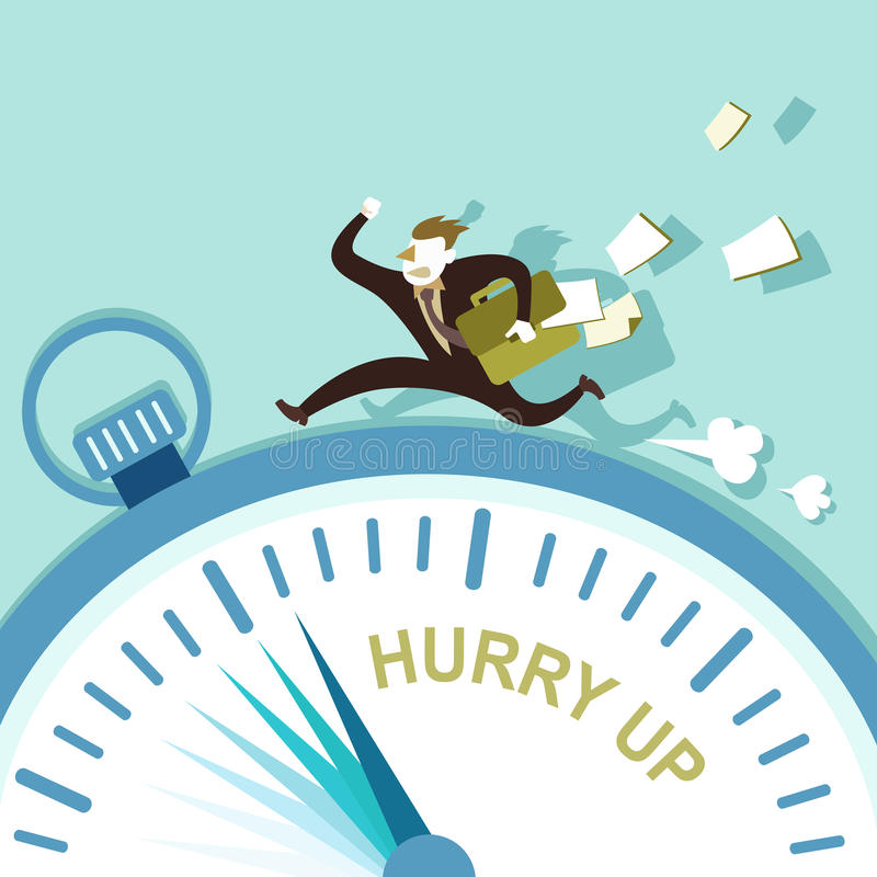 Illustration concept of hurry up stock illustration
