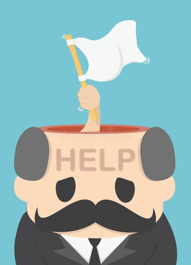 Illustration Concept Surrender,Helpr,White flag, vector. Eps.10 stock illustration