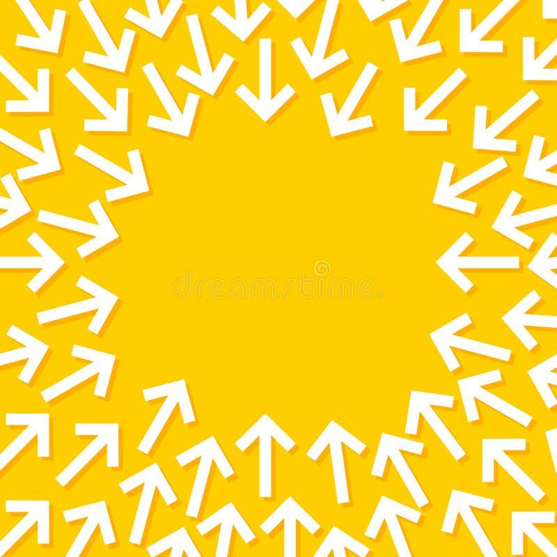 Illustration conceptuelle abstraite des flèches blanches étant dirigées vers le centre illustration de vecteur