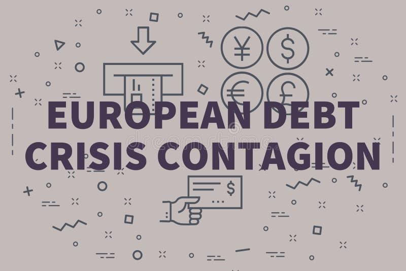 Illustration conceptuelle d'affaires avec du Cr européen de dette de mots illustration libre de droits