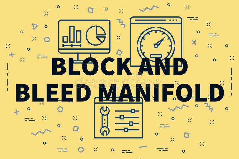 Illustration conceptuelle d'affaires avec le bloc et la purge de mots illustration libre de droits