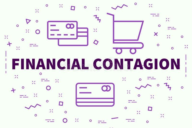 Illustration conceptuelle d'affaires avec le contag financier de mots illustration stock