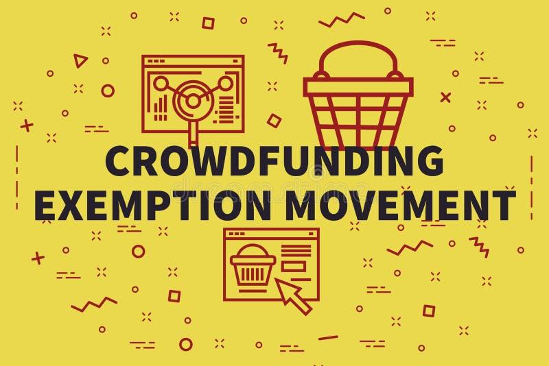 Illustration conceptuelle d'affaires avec les mots crowdfunding l'exe illustration libre de droits
