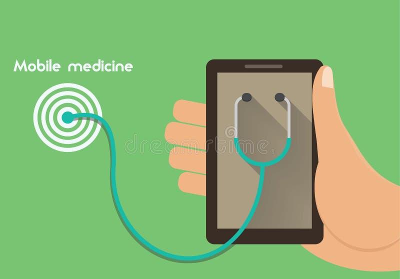 Illustration conceptuelle de médecine mobile Concept à distance de service de santé illustration stock