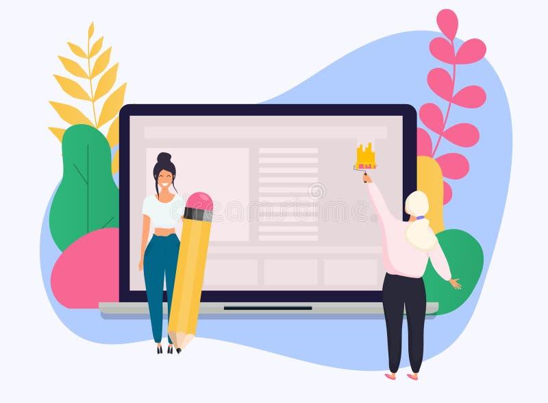 Illustration conceptuelle de seo de Web Page de débarquement pour le site Web élégant illustration stock