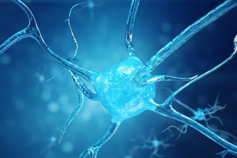 Illustration conceptuelle des cellules de neurone avec les noeuds rougeoyants de lien Cellules de synapse et de neurone envoyant  illustration de vecteur