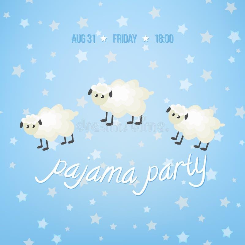 Illustration confortable de vecteur avec les moutons, les étoiles et le ` mignons de partie de pyjama de ` des textes illustration stock
