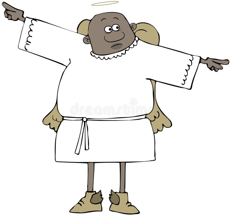 Confused ethnic angel stock illustration