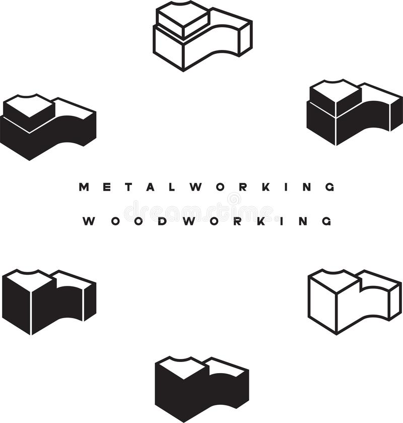 Illustration consisting of the image details. And the words `woodworking` and `metalworking vector illustration
