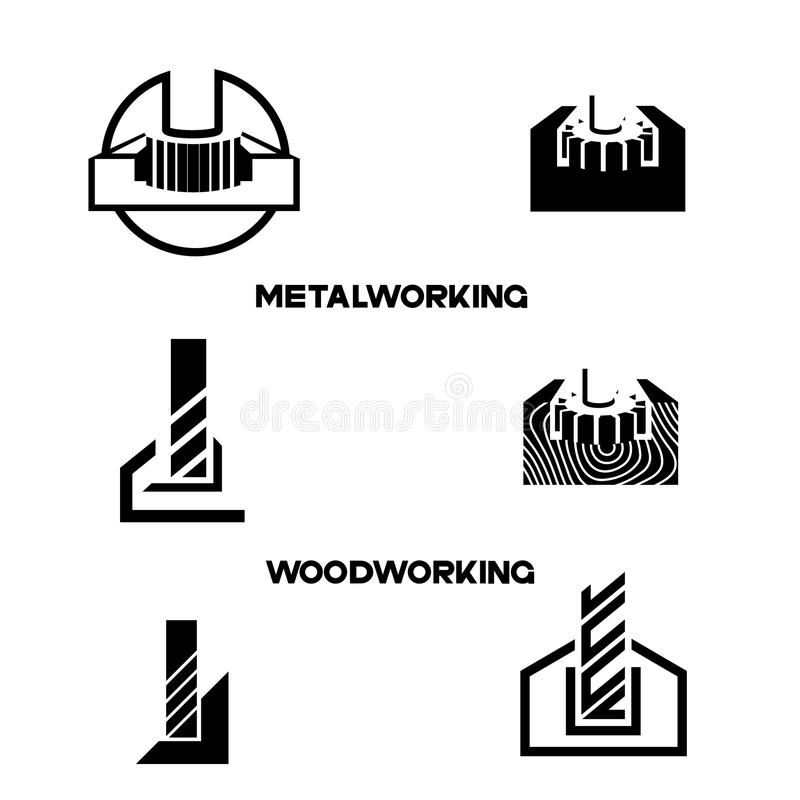 An illustration consisting of an image of the face mill. And the inscription `woodworking` and `metalworking vector illustration
