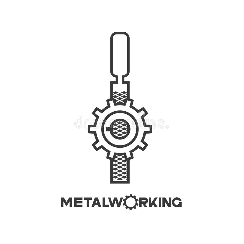 An illustration consisting of an image of the gear and file and the inscription `metalworking`. In the form of a symbol or logo vector illustration