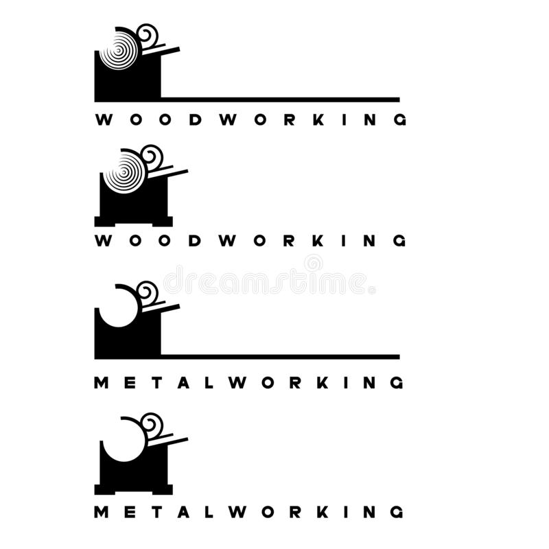 Illustration consisting of several images of a lathe and a piece of wood. In the form of a symbol or logo royalty free illustration