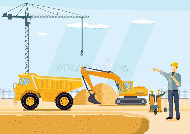 Excavator and dump truck on construction site royalty free illustration