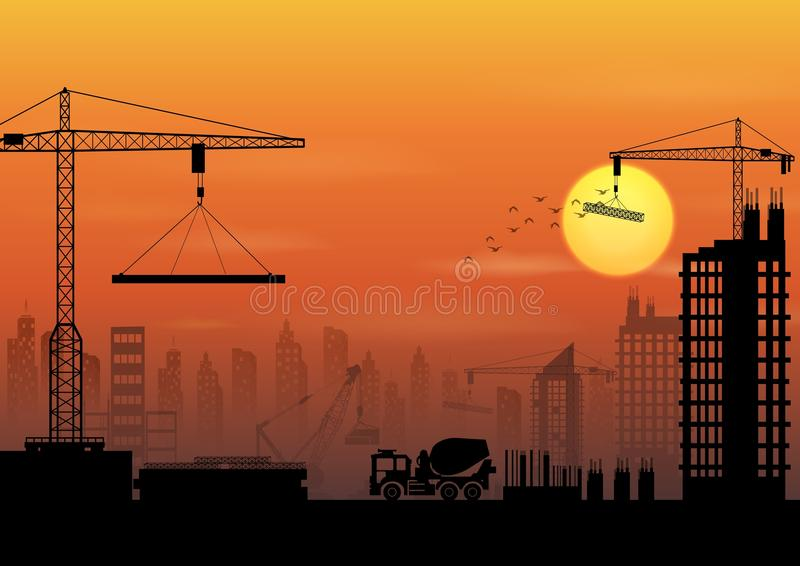 Construction site silhouettes at sunset. Illustration of Construction site silhouettes at sunset vector illustration
