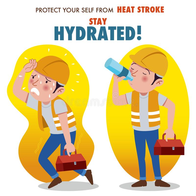 Protect yourself from heat stroke, Stay hydrated. vector illustration