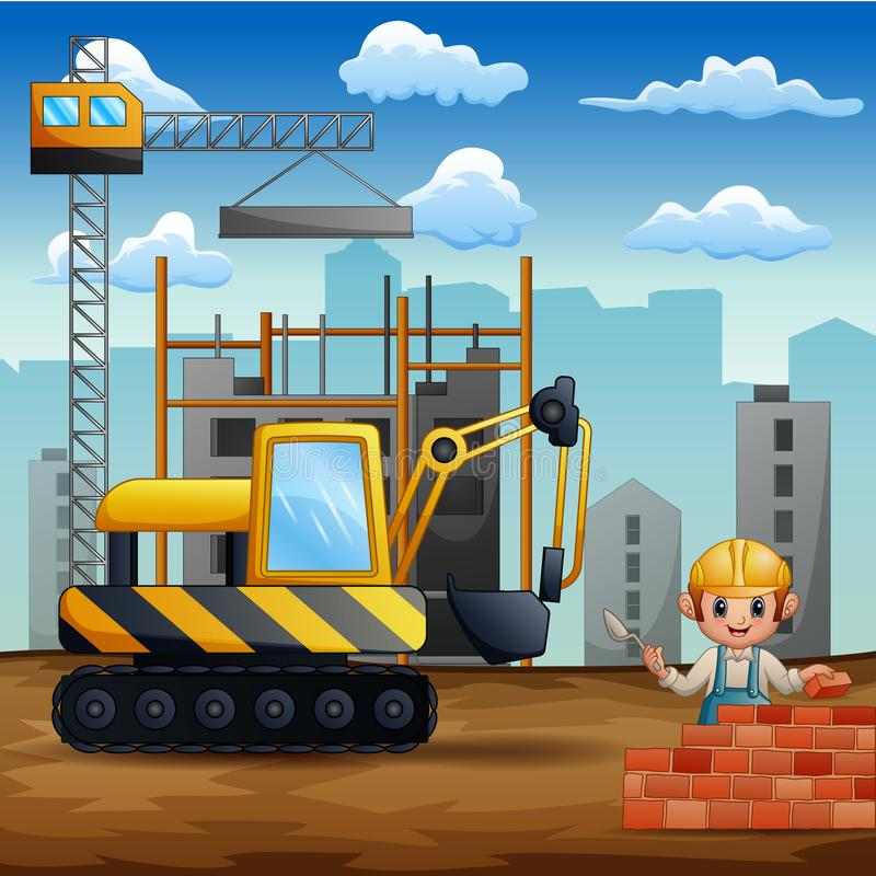 Illustration of construction workers at a building site. Cartoon Illustration of construction workers at a building site vector illustration