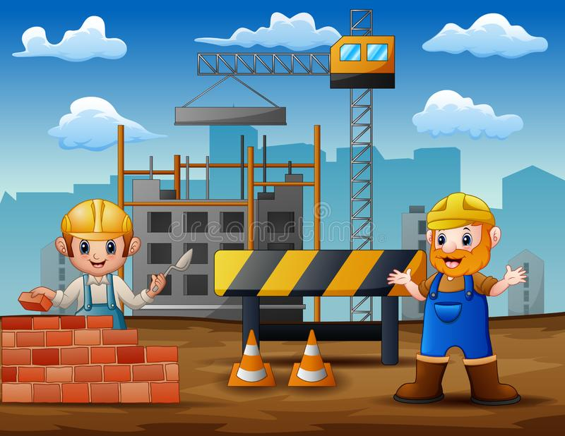 Illustration of construction workers at a building site. Cartoon Illustration of construction workers at a building site royalty free illustration