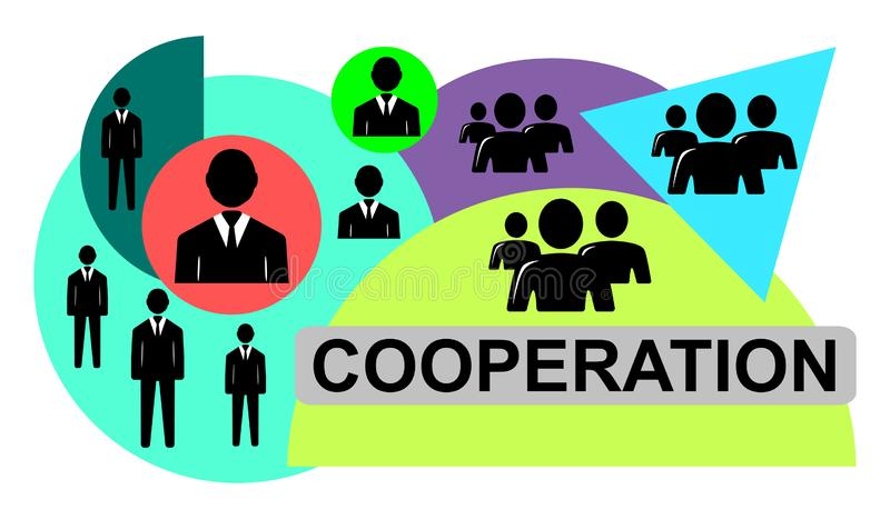 Concept of cooperation. Illustration of a cooperation concept stock illustration
