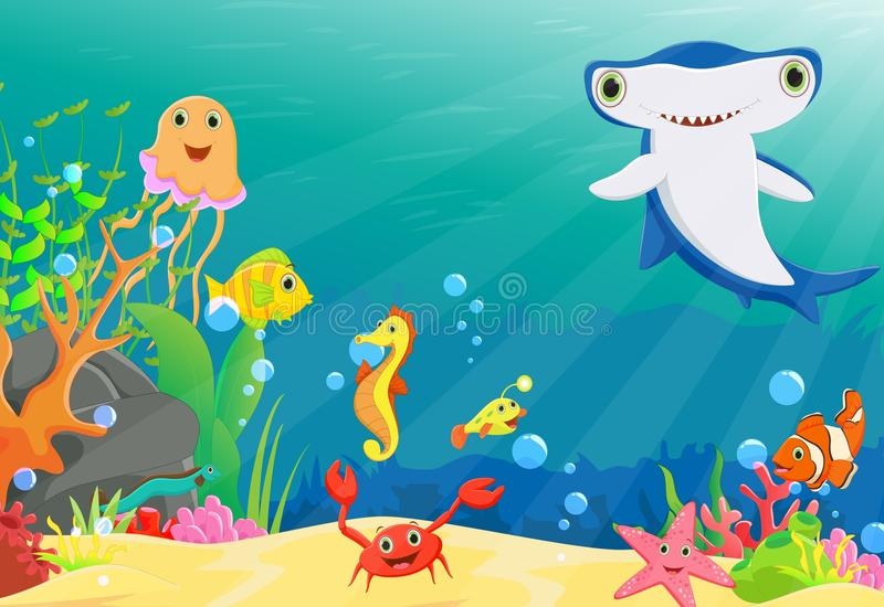 Illustration of coral reef with a funny fish and hammerhead shark. Vector illustration of coral reef with a funny fish and hammerhead shark on white royalty free illustration