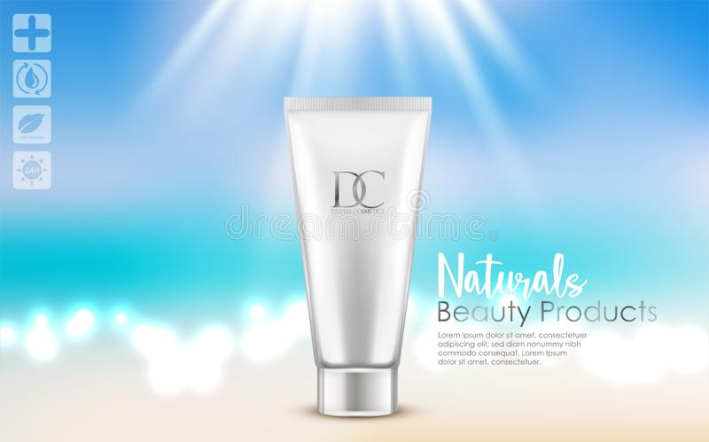 Cosmetic cream tube on white background stock illustration