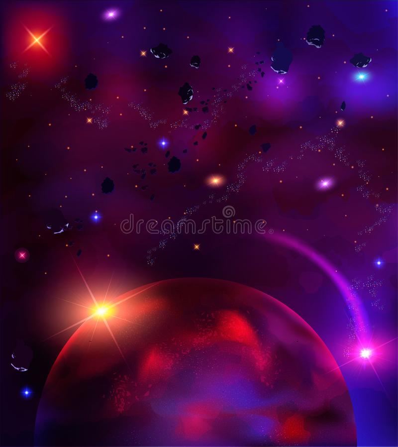 cosmic background with asteroids, meteorites, stars stock illustration