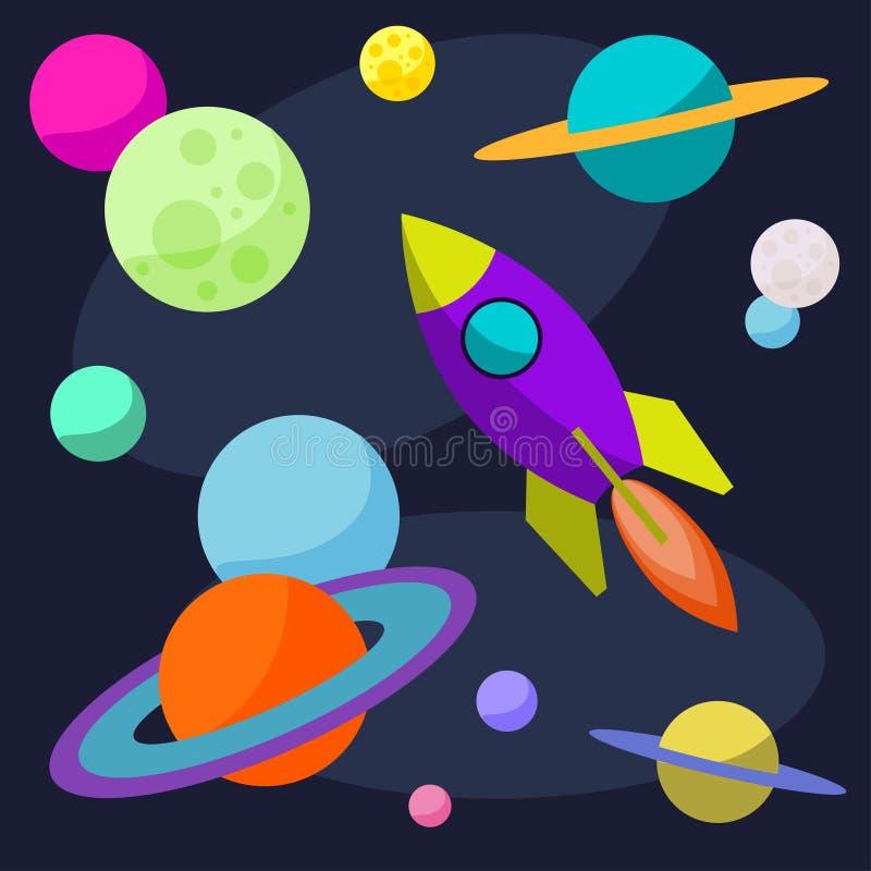 Illustration cosmique de bande dessinée avec la fusée et les planètes lumineuses drôles dans l'espace ouvert pour l'usage dans la illustration de vecteur