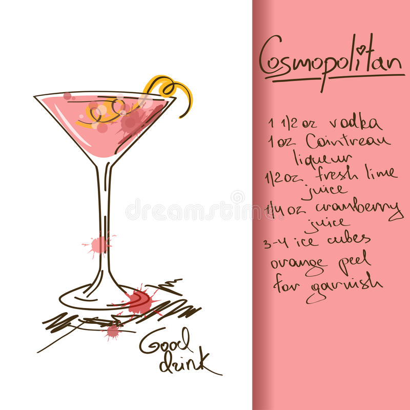 Download Illustration With Cosmopolitan Cocktail Stock Vector - Image: 33698813