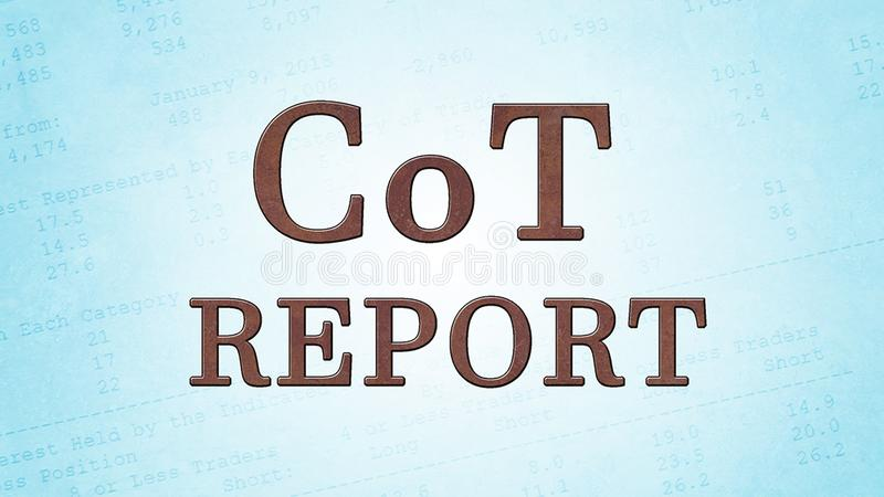 CoT - Report. Illustration of CoT - Report which is published every Friday and used by a lot of traders on the commodity and stock exchanges stock illustration