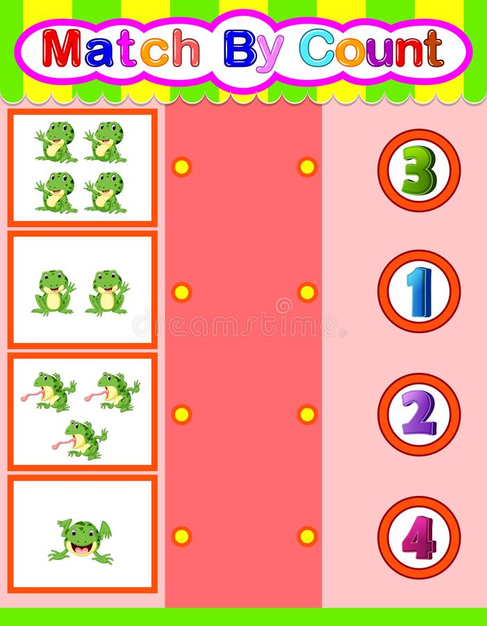 Count and match frog cartoon, math educational game for children. Illustration of Count and match frog cartoon, math educational game for children stock illustration