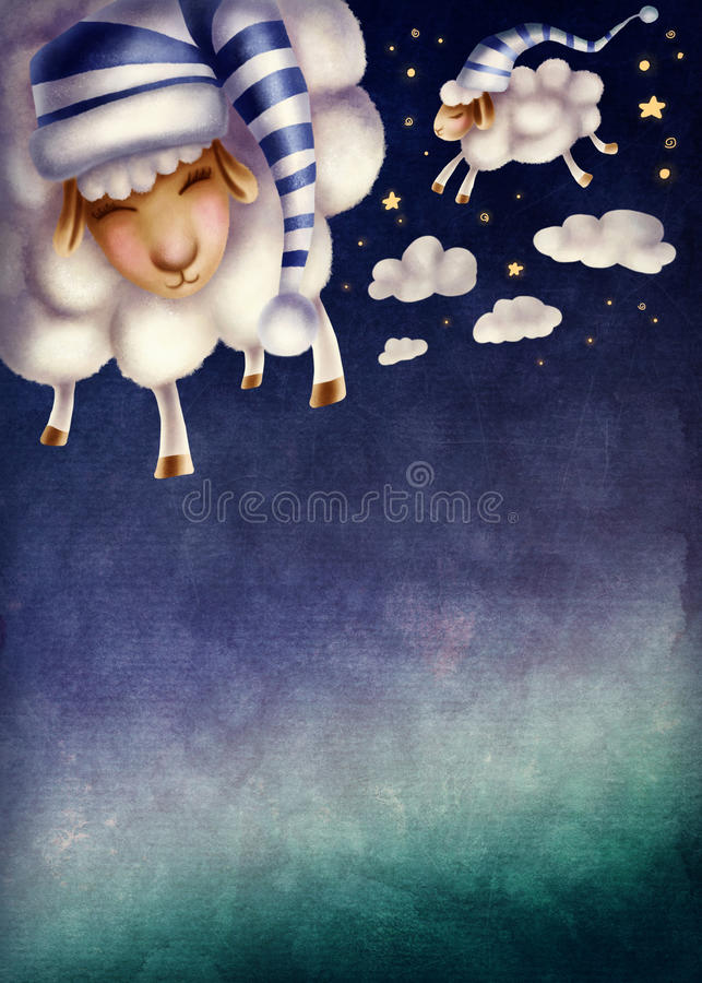 Illustration of counting sheep. And night sky royalty free illustration