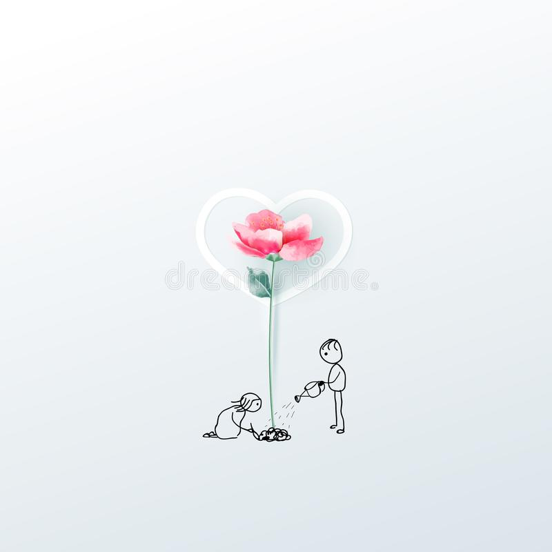 Illustration of couple with 3d flower. Love concept, Valentine`s day background. Vector illustration. Wallpaper, invitation, stock illustration