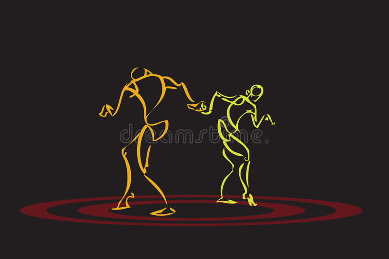 Illustration of a couple dancing royalty free illustration