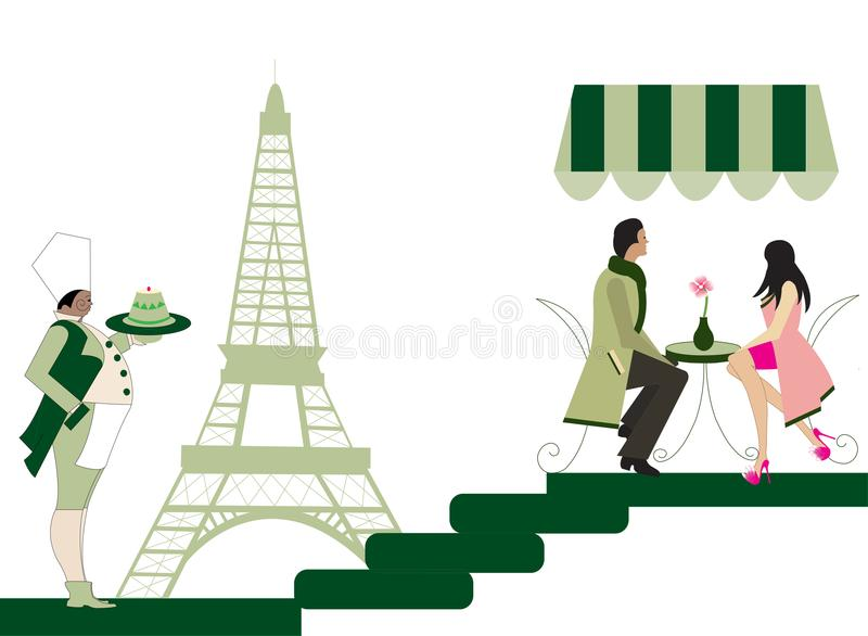 Illustration of a couple at a french restaurant stock illustration