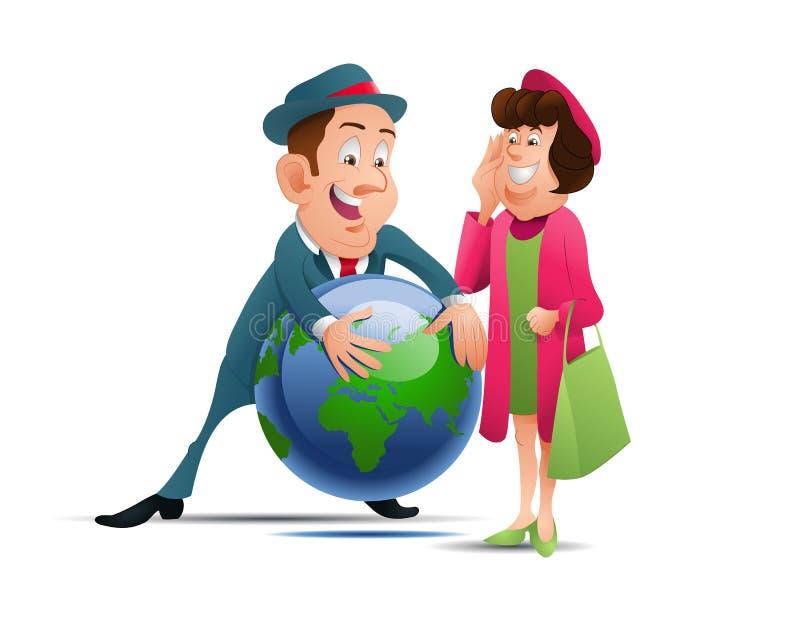 Illustration of a couple hug globe on isolated white background. Illustration of a couple hug globe concept of world vacation on isolated white background, art royalty free illustration