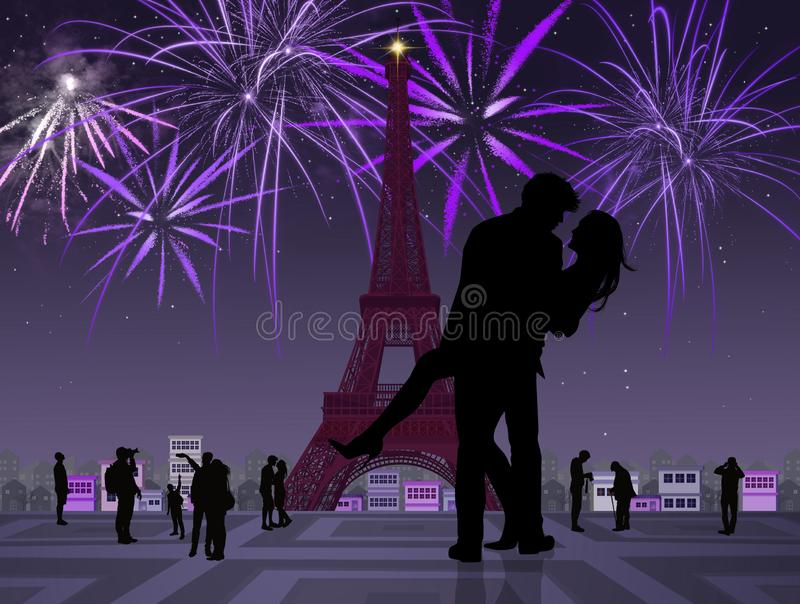 Couple kissing in Paris. Illustration of couple kissing in Paris royalty free illustration