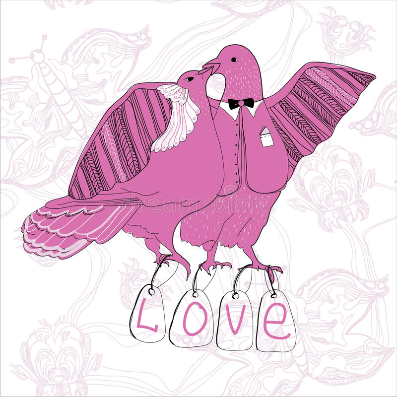 Illustration of couple kissing pink doves stock images