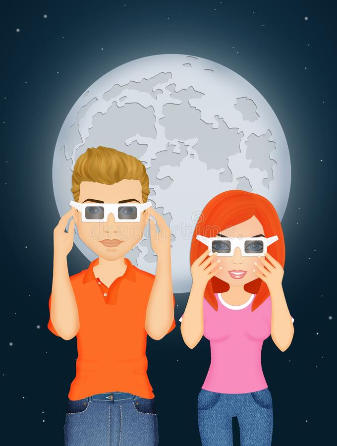 Couple look the eclipse. Illustration of couple look the eclipse stock illustration