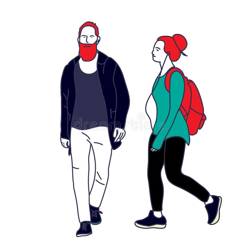 Illustration of  Couple,  Two people  vector royalty free illustration