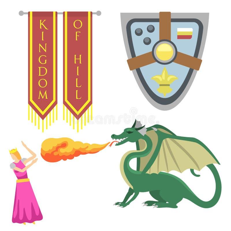 Illustration courageuse de vecteur de héros de crête de chevalier d'éléments de vintage de roi d'héraldique médiévale royale héra illustration stock