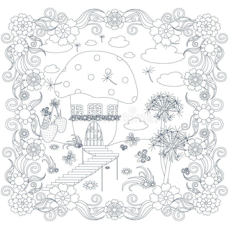 Illustration courante antistress monochrome de vecteur avec la maison féerique, champignon, pissenlit, fraises, fleurs illustration stock
