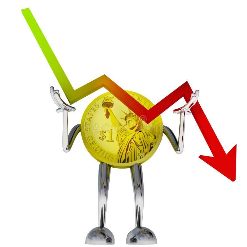 Illustration courante décroissante de graphique d'arrêt de robot de pièce de monnaie du dollar illustration de vecteur