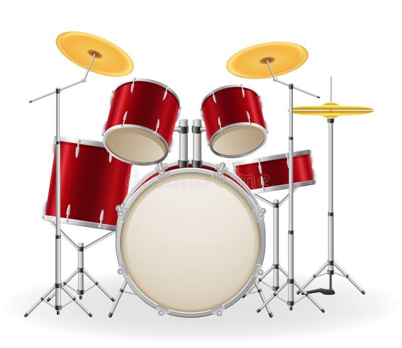 Illustration courante de vecteur d'instruments de musique réglés de kit de tambour illustration de vecteur