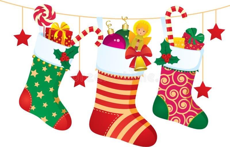 Illustration courante de vecteur des chaussettes de Noël avec des cadeaux et le swee illustration libre de droits