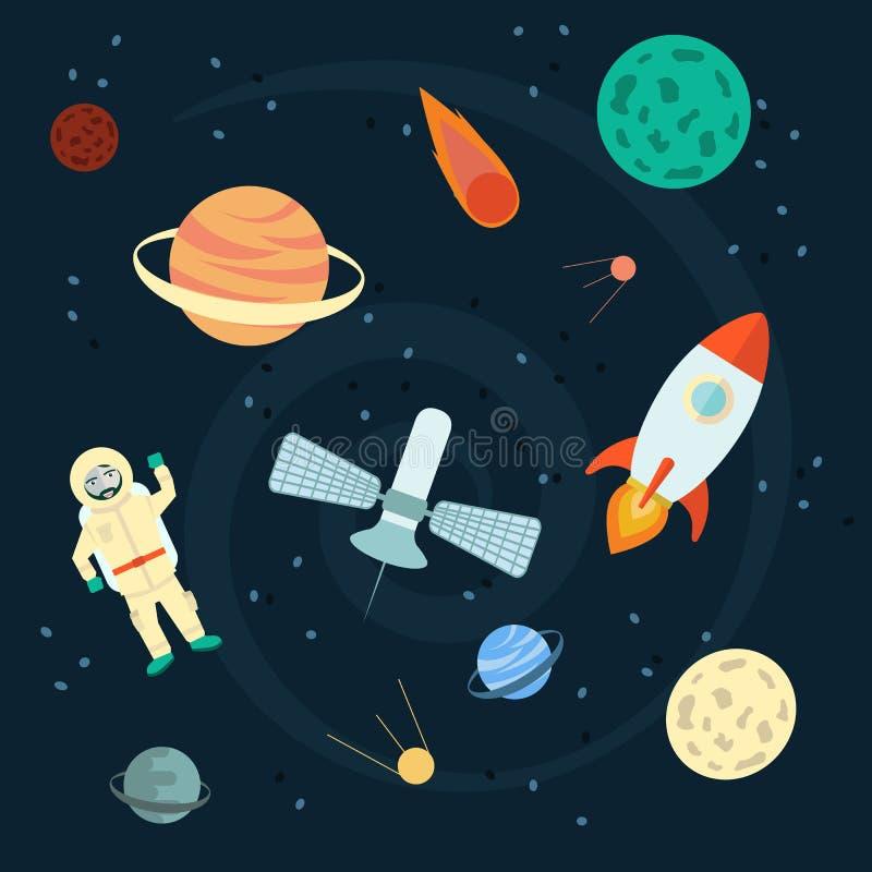 Illustration courante de vecteur : Ensemble de l'espace de planètes, orbites, fusées, satellite, étoiles, UFO, astronaute, Apollo illustration libre de droits