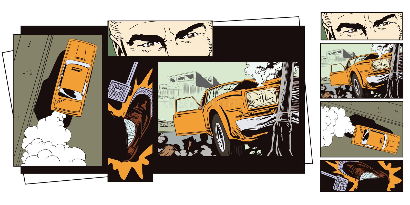 Illustration courante La voiture s'est écrasée dans un pilier illustration libre de droits