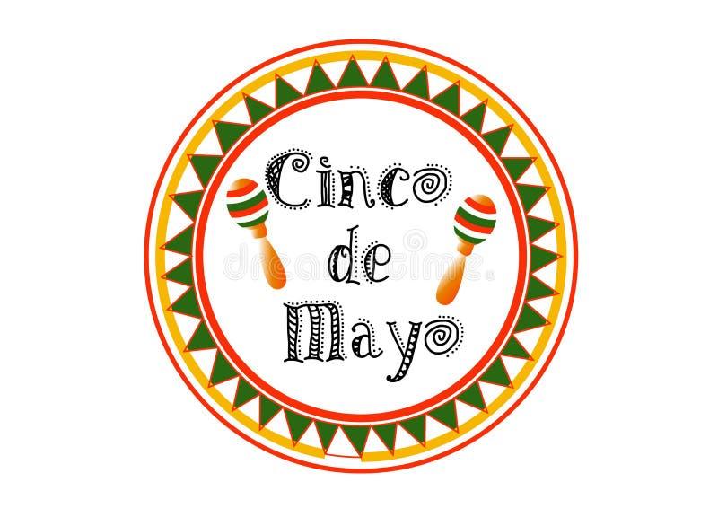 Illustration courante libre donnante un petit coup de redevance de vecteur du fond ENV 10 de Cinco De Mayo pour la carte de voeux illustration stock