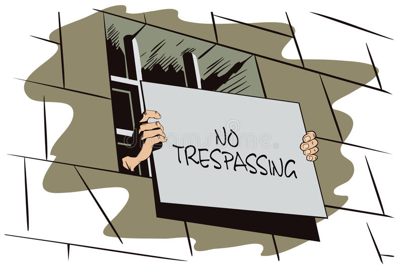 Illustration courante prison La main tient un signe illustration stock